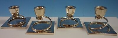 Taxco MV Mexican Mexico Sterling Silver Candle Holders Set 4pc (#1970) Modernist