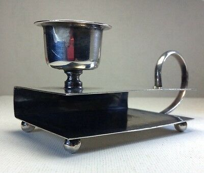 """c1930 Sterling Silver Candle Holder & Double Match Box Holder Chamber-stick 3.6"""""""