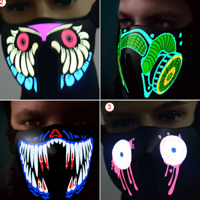 Biker Cycling LED Luminous Flashing Face Party Mask Halloween with Voice Control