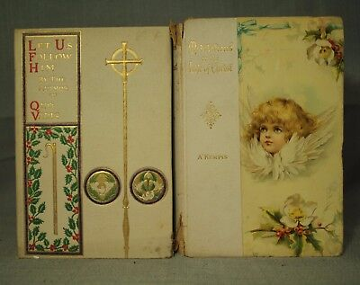 lot 2 anique old books Meditations on the Life of Christ decorators shelf