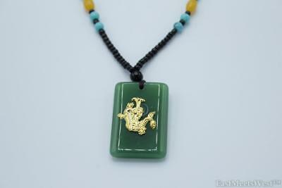 Jadeite Gold Metal Dragon Necklace Hanging Charm Lucky Feng Shui Protection