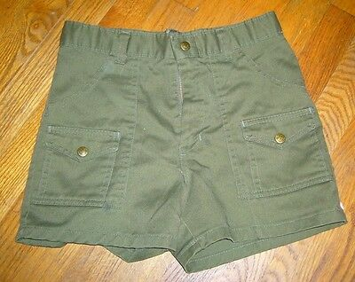 Vintage Boy Scouts of America BSA Green Cargo Uniform Troop Camp Shorts Sz 26