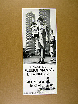 1964 Marina City Towers Chicago photo Fleischmann's Whiskey vintage print Ad