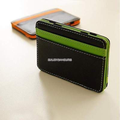 Wallet Money Clip Mens Womens Black Leather Credit Card Holder Ultra Slim Walle
