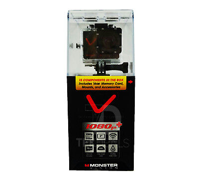 """Monster Vision Action Sports Camera 1080p+ 2"""" LCD Screen & WiFi Control - Black"""