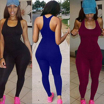 US Sexy Women Casual Sleeveless Bodycon Romper Jumpsuit Club Bodysuit Long Pants