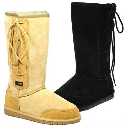 Originals Ugg Australia LaceUp Long Snow Boot Chestnut Black 6 8 10 12 Men Women