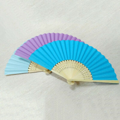 Portable Folding Fan Plain Hand Held Fabric Summer Pocket Fan for Wedding Party