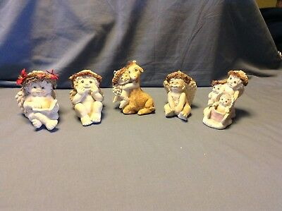 Lot of 5 Dreamsicles Figurine Collection Signed Kristin Haynes Cast Art Angels