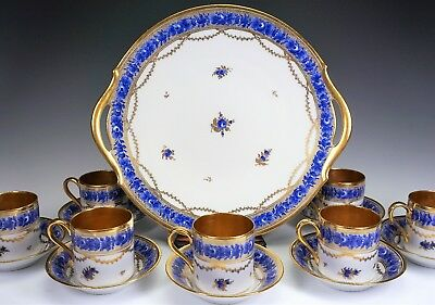 Hand Painted Porcelain Serving Tray & 8 Blue Gold Gilt Cups Saucers Signed Nyon
