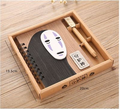 My Spirited Away No Face Man Kaonashi Wood Cover Book / Diary / Notebook + Pen