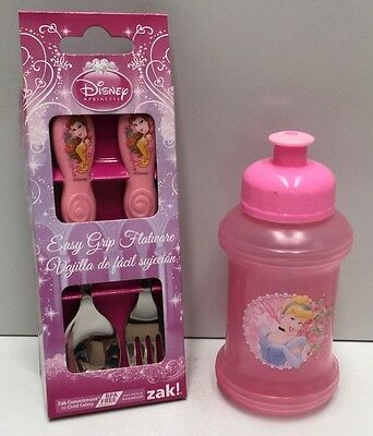 DISNEY PRINCESS KIDS EASY GRIP FLATWARE CUTLERY & 9oz DRINK BOTTLE SET