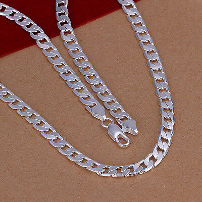 hot! wholesale Sterling solid silver fashion jewelry Chain 6mm Necklace XLSN047