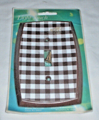 vintage Single Toggle Light Switch Cover Plate checkered brown white Edmar