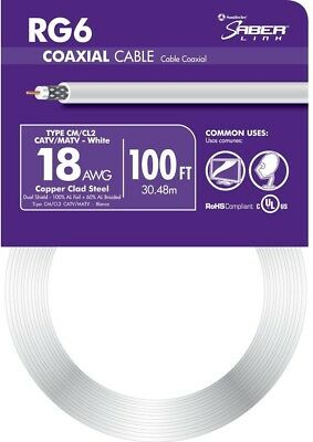 Coaxial Wire 100 Ft. White 18 AWG RG6 Audio Video Coax Cable Coil Indoor Outdoor