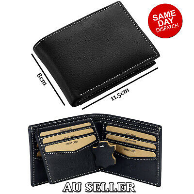 MENS LEATHER Wallet Slim GENUINE LEATHER RFID Blocking Trifold Purse Card Holder
