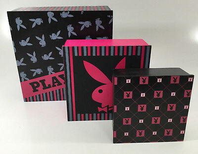 Playboy Wooden Trinket Boxes . Set Of Three Boxes . Genuine Playboy Items
