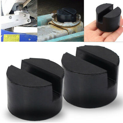 2x Universal Trolley Floor Jack Disk Pad Adapter Rubber Pinch Weld Side JackPad