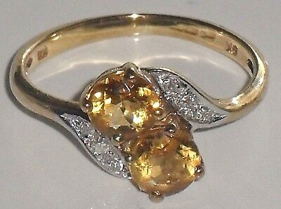 FINE CLASSIC ART DECO STYLE TWO STONE CITRINE & DIAMOND 9ct GOLD CROSSOVER RING