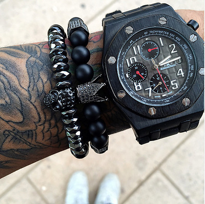 King of The Skulls Pair Of Titanium Skull And Onyx Natural Stone Crown Bracelets