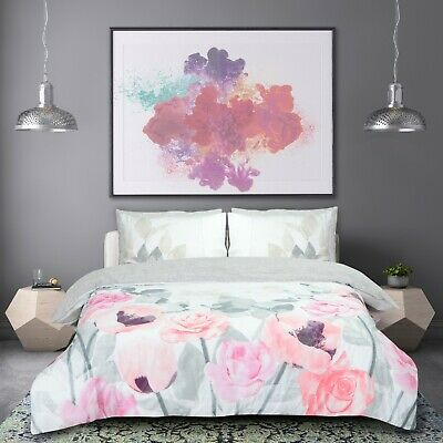 Faded Flowers Pink & Grey Reversible Duvet & Quilt Cover Set With Pillowcases