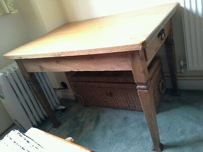 Antique pine farmhouse ? Victorian kitchen dining table with drawer waxed