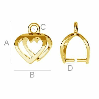 S10s2 Quality pinch Bail heart Sterling Silver 925 24k. gold plated for crystals
