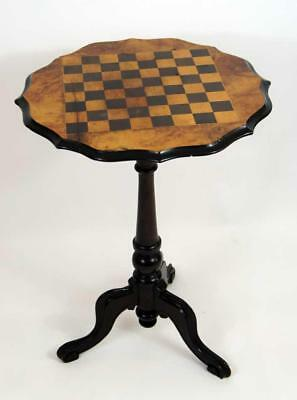 Victorian Mahogany & Burr Walnut  tripod chess, games  table, lovely colour