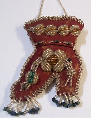 antique Iroquois beaded shoe wall pocket pin cushion 1889 Native American