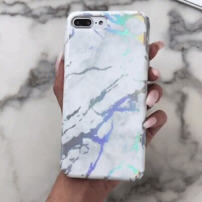 Holographic Marble Case Cover and Glass Screen Protector for iPhone 7 8 Plus