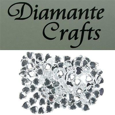 150 x 10mm Clear Diamante Heart Loose Flat Back Rhinestone Vajazzle Body Gems