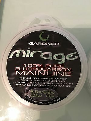 gardner mirage 100% pure fluorocarbon 8.5lb .28mm 100m spool fishing line leader