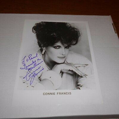 Connie Francis is an American pop singer + top-charting female Hand Signed Photo