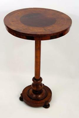Victorian Rosewood & Burr Walnut  round top occasional table, lovely colour