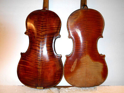 Lot of 2 Old Vintage Antique Curly Maple 2 Pc Back Violins - No Reserve