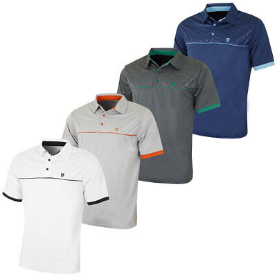 Island Green 2017 Mens Embossed Pattern CoolPlus Tech Golf Polo Shirt
