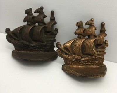 Vintage Pair of Cast Iron Metal Sailboat/Ship Bookends Smaller Size Copper Wash