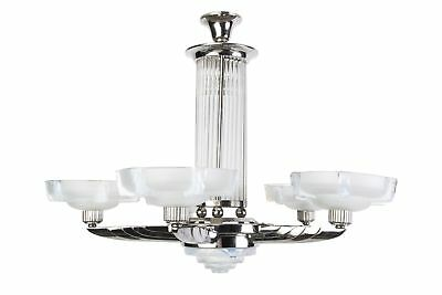 Stunning 1920's French Art Deco Chandelier By Petitot