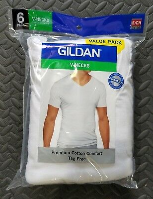 6-Pack of Gildan V-Neck 100% Cotton White T-Shirts Men's Size Small