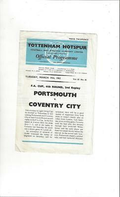 Portsmouth v Coventry City FA Cup Replay 1962/63 Football Programme @ Spurs
