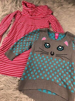 J Khaki Girls Sz S Small 7/8 Kitty Cat Sweater & Red & Pink Striped scoop nk lot