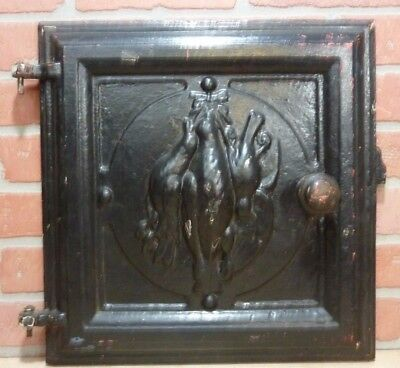 Antique Cast Iron DEAD GAME BIRDS Stove Front Plaque Door lh Decorative Art Sign