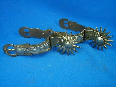 Large Vintage Chilean South American Gaucho Spurs Brass and Coin  - 15 Point
