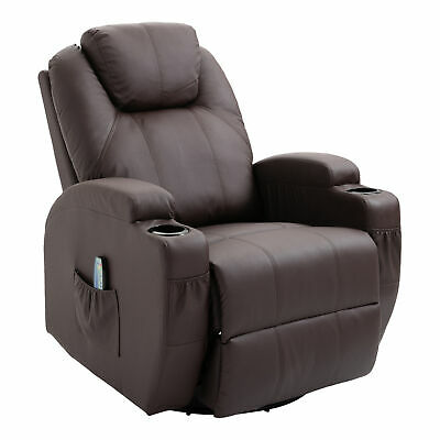 Massage Recliner Sofa Chair Lounge Swivel Leather Vibrating Heated w/RC Brown