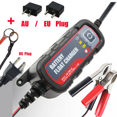 1200mA Trickle Maintainer 6V12V Truck Mower Car Battery Float Charger+AU/EU Plug