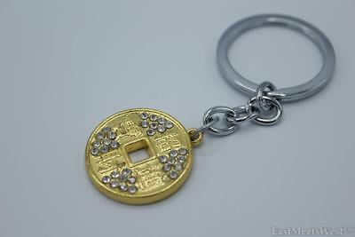 Bejewelled Gold Metal Coin Wealth Inviting Keychain Feng Shui Hanging Charm