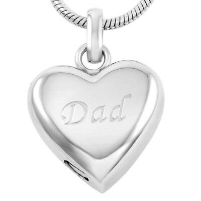 Cremation Memorial keepsake, Silver Dad engraved Pendant and Necklace for Ashes.