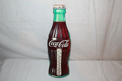 Vintage 1950's Coca Cola Soda Pop Bottle Embossed Metal Thermometer Sign~Nice