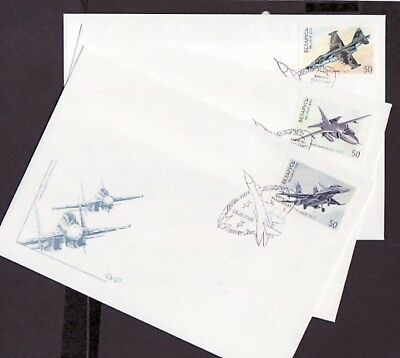 Belarus, Scott cat. 341-343. Fighter Aircraft issue on 3 First day covers.