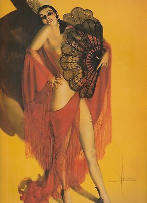"""Erotic Fan Dancer""  Pin-Up by Rolf Armstrong 9 x 12 inches"